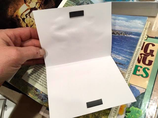 Attaching magnet pieces inside turn these cards into book marks. (Photo by Charlotte Ekker Wiggins)