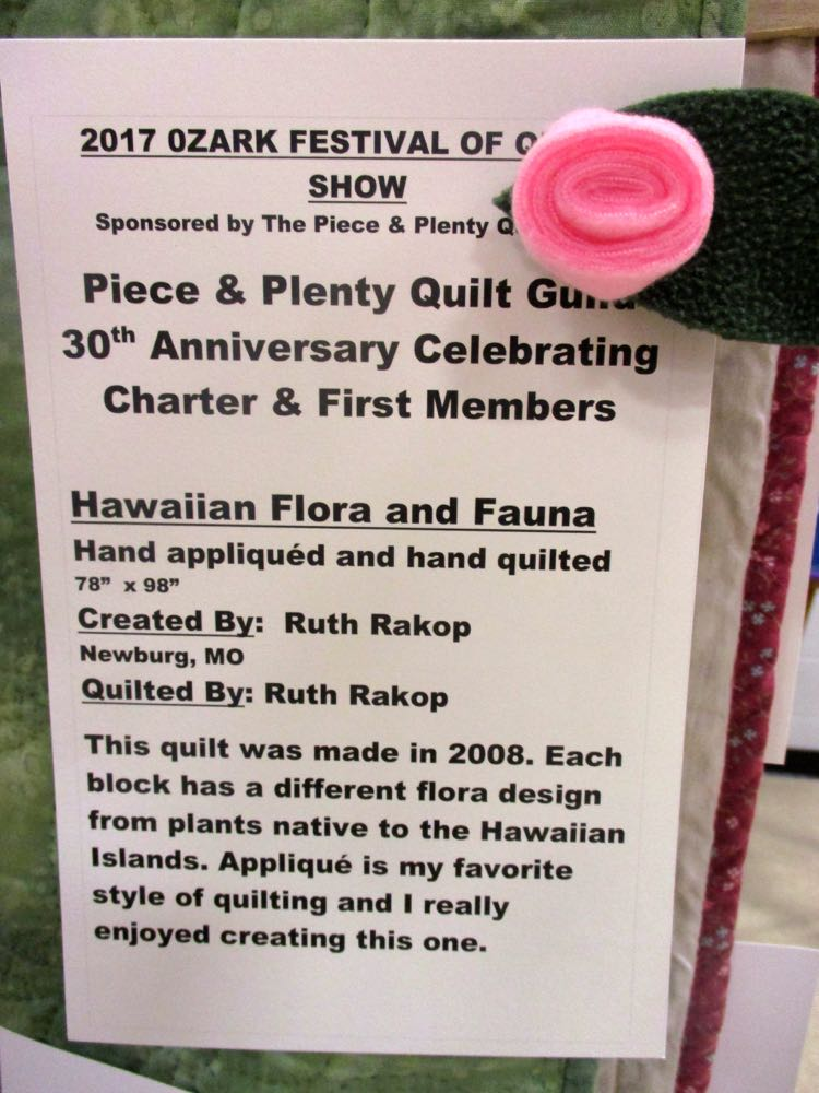 The story behind Green Hawaiian Handmade Quilt. (Photo by Charlotte Ekker Wiggins)