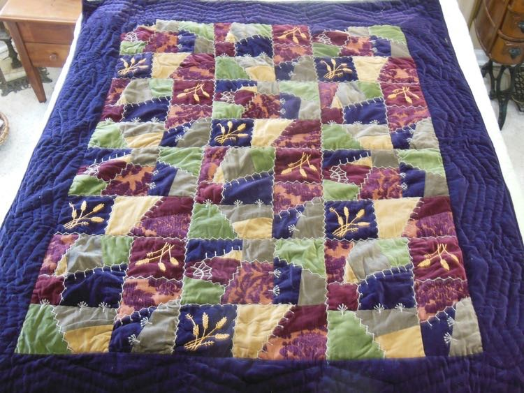 Harvest Crazy Lap Quilt throw has some of the stitches in Dorothy Bond's book. (Photo by Charlotte Ekker Wiggins)