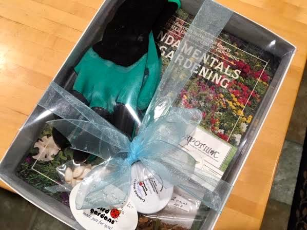 Donated personalized gardening starter kit to a spring conference. (Photo by Charlotte Ekker Wiggins)