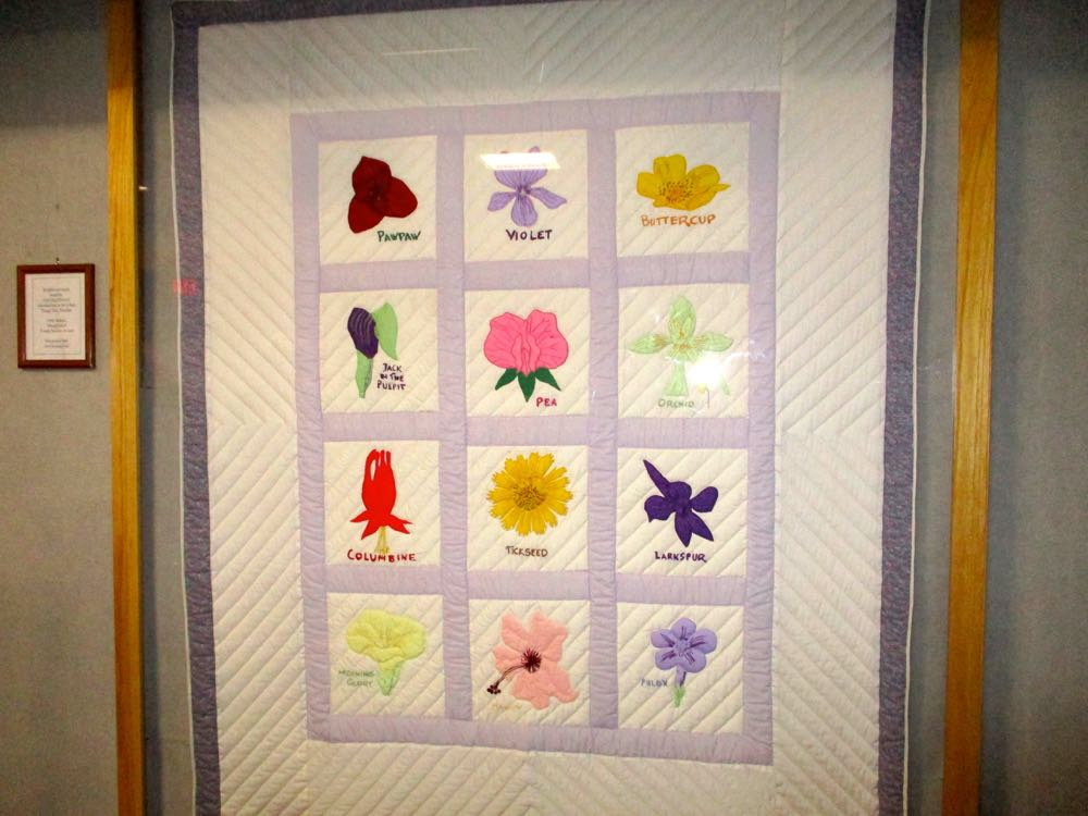 Delightful handmade native flowers quilt at Mastodon State Park, Imperial, Missouri.