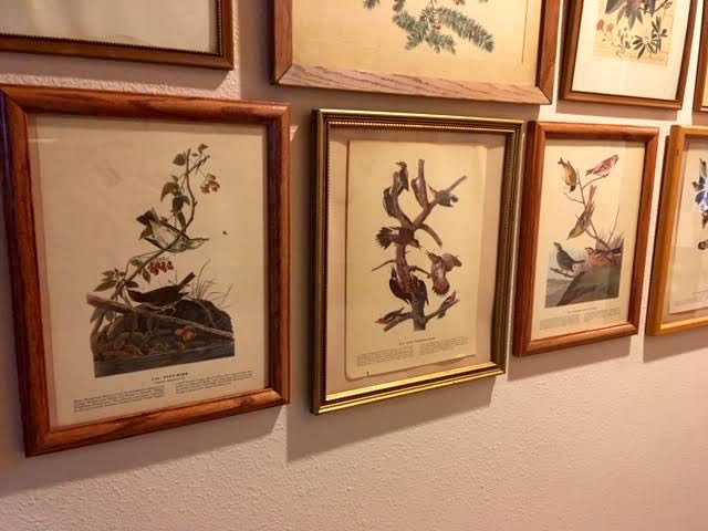 The bird prints are not in matching frames but they do have similar trim. (Photo by Charlotte Ekker Wiggins)