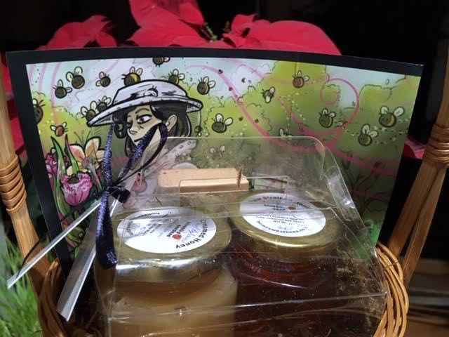 The gift basket includes two jars of our Bluebird Gardens honey. (Photo by Charlotte Ekker Wiggins)