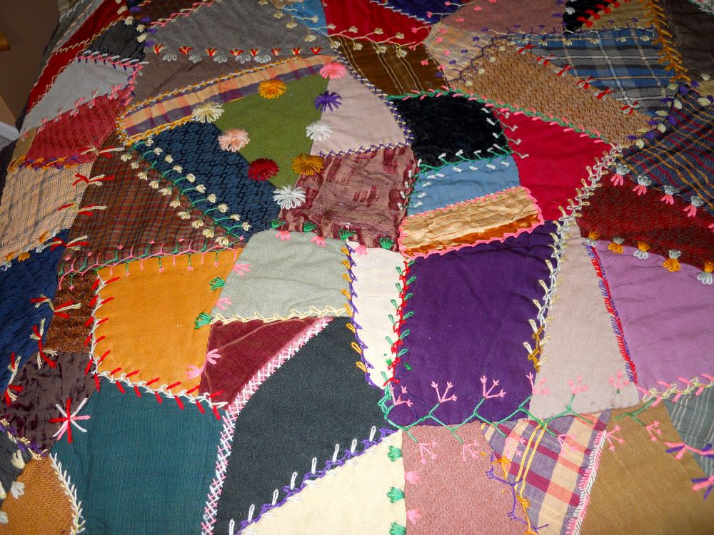 More examples of the crazy quilt embroidery. (Photo by Charlotte Ekker Wiggins)