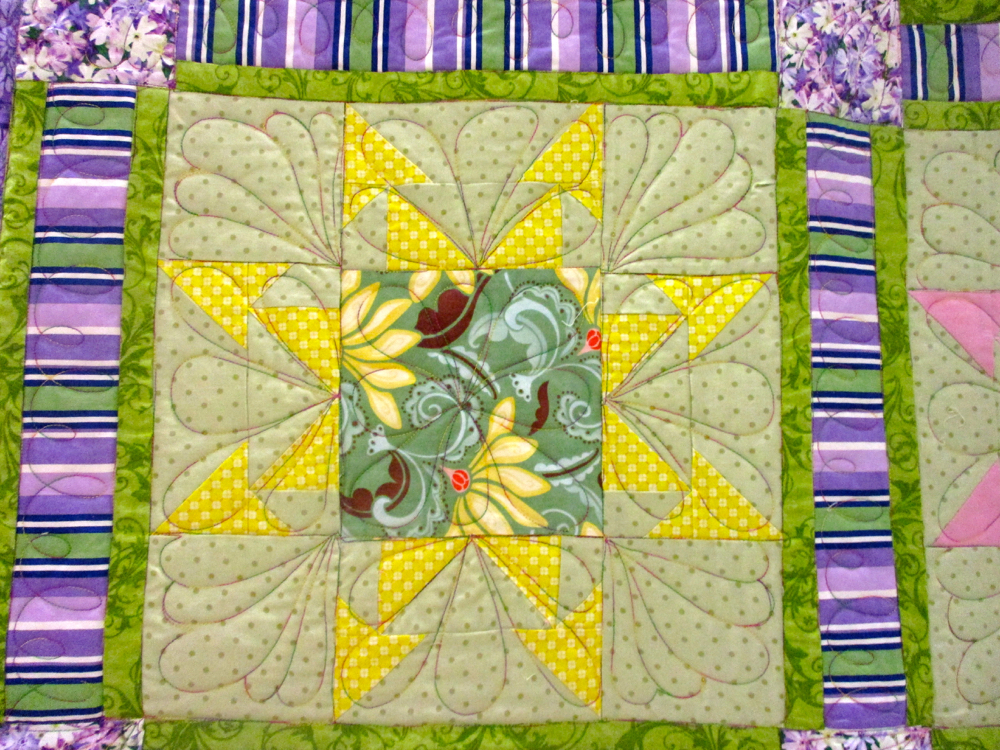 Bright quilt block from Wink and a Smile Handmade Quilt, (Photo by Charlotte Ekker Wiggins)
