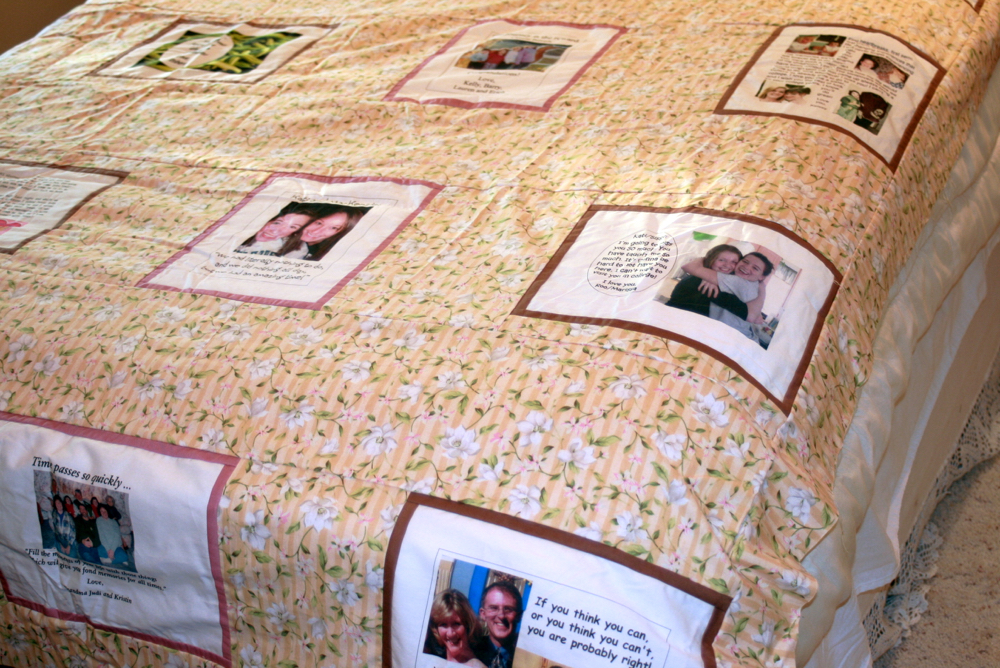 Photos transferred for quilt blocks on a custom handmade quilt. (Photo by Charlotte Ekker Wiggins)