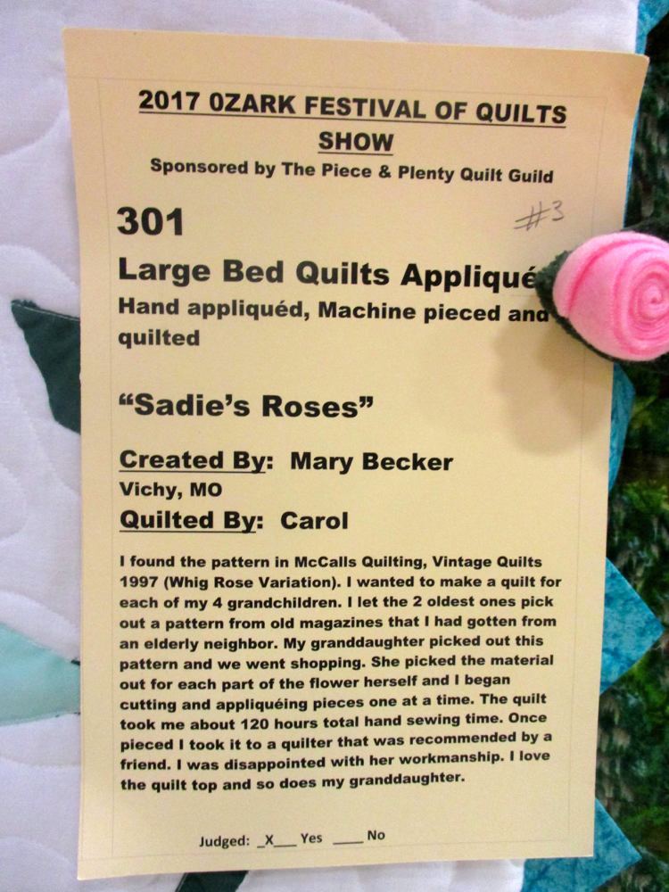Each quilt has a story and this is Sadies Rose handmade quilt story. (Photo by Charlotte Ekker Wiggins)
