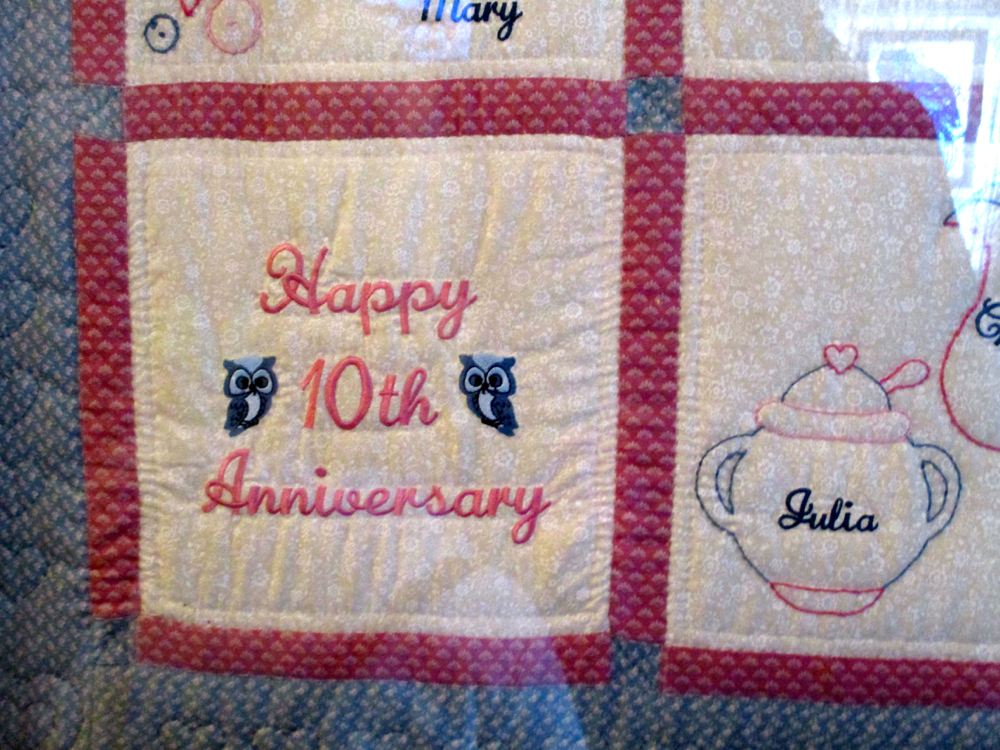 This handmade quilt celebrates a very special event. (Photo by Charlotte Ekker Wiggins)