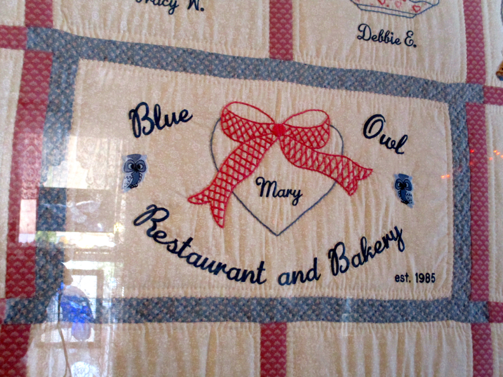The Blue Owl Restaurant and Bakery handmade quilt block. (Photo by Charlotte Ekker Wiggins)
