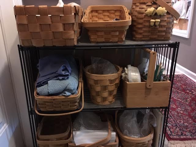 My collection of storage baskets in use by my garage entrance. (Photo by Charlotte Ekker Wiggins)