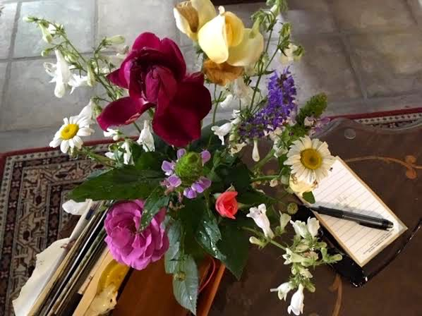 My spring flowers bouquet on my den coffee table. (Photo by Charlotte Ekker Wiggins)