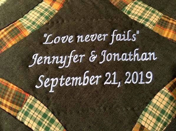 Quotes are favorite ways to personalize a wedding quilt gift. (Photo by Charlotte Ekker Wiggins)