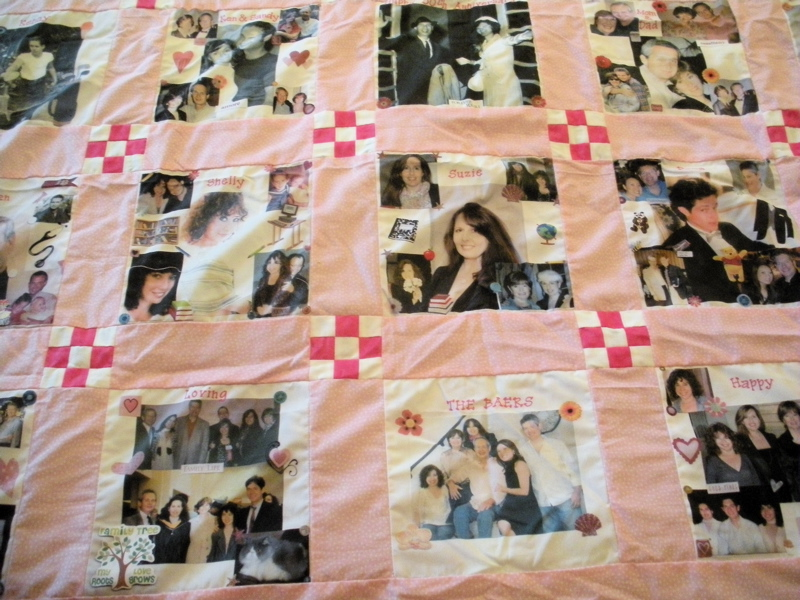 Traditional quilt patchwork with printed photos makes a great memory quilt. (Photo by Charlotte Ekker Wiggins)