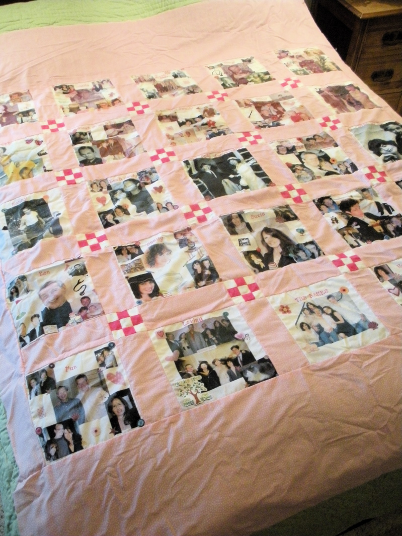 Here's the handmade nine patch photo quilt top ready for quilting. (Photo by Charlotte Ekker Wiggins)