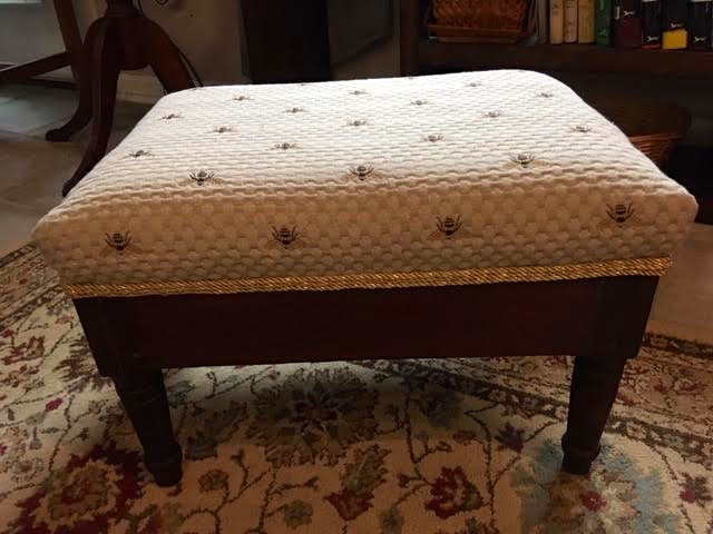 The refinished and recovered walnut foot stool presented as a gift. (Photo by Charlotte Ekker Wiggins)