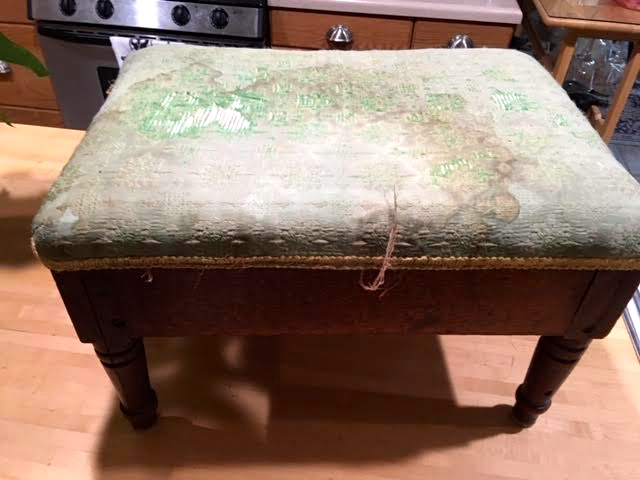 This was the original foot stool as I found it at a thrift store. (Photo by Charlotte Ekker Wiggins)