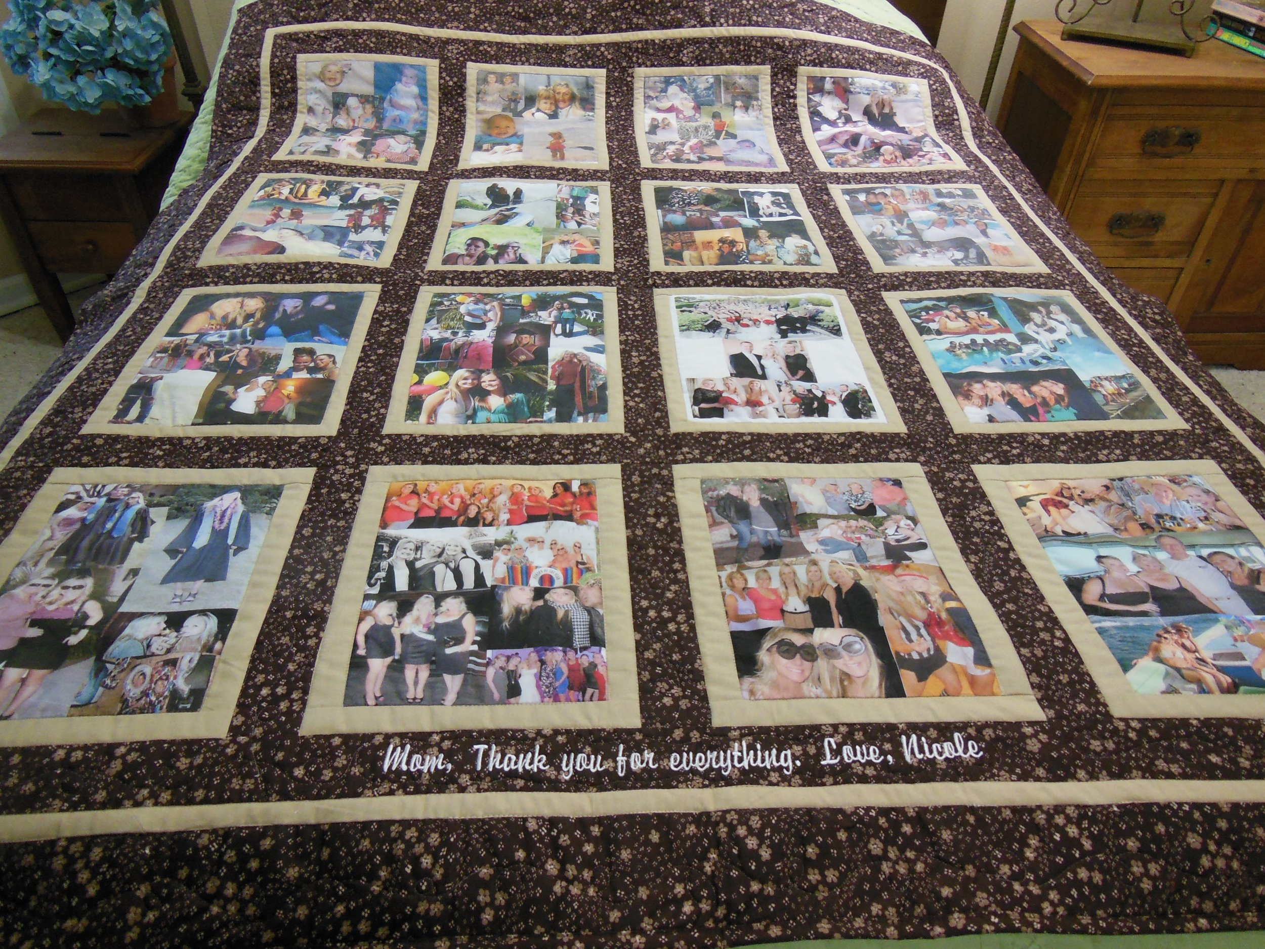 Custom personalized photo lap quilt covers the top of a queen size bed. (Photo by Charlotte Ekker Wiggins)