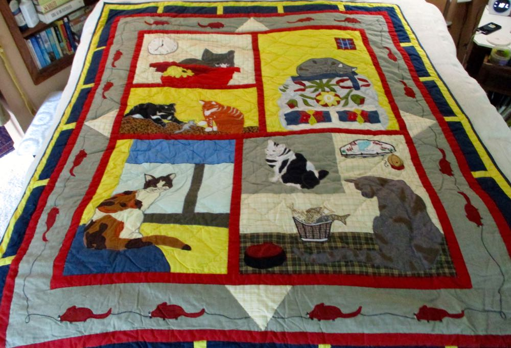 This all cotton Cat Mischief Lap Quilt would make a charming quilted wall hanging. (Photo by Charlotte Ekker Wiggins)