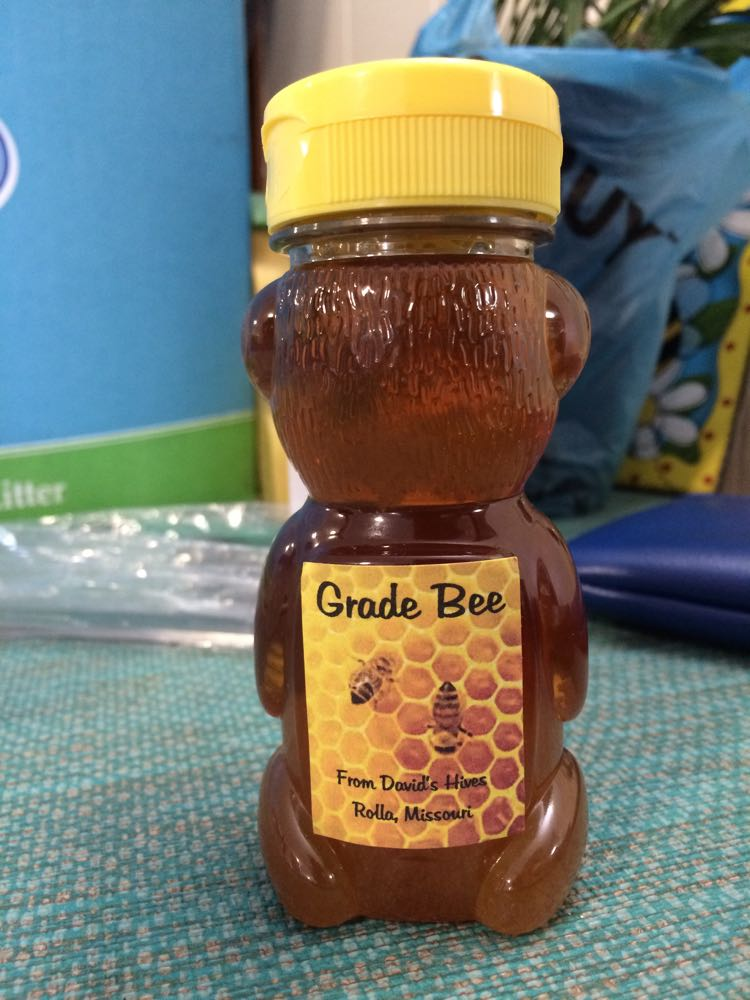 The back of David's honey bear so that I will know where the honey came from - his apiary.