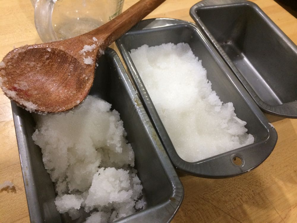I fill my bread pans up half full, then place them in cold oven to dry out until hard.