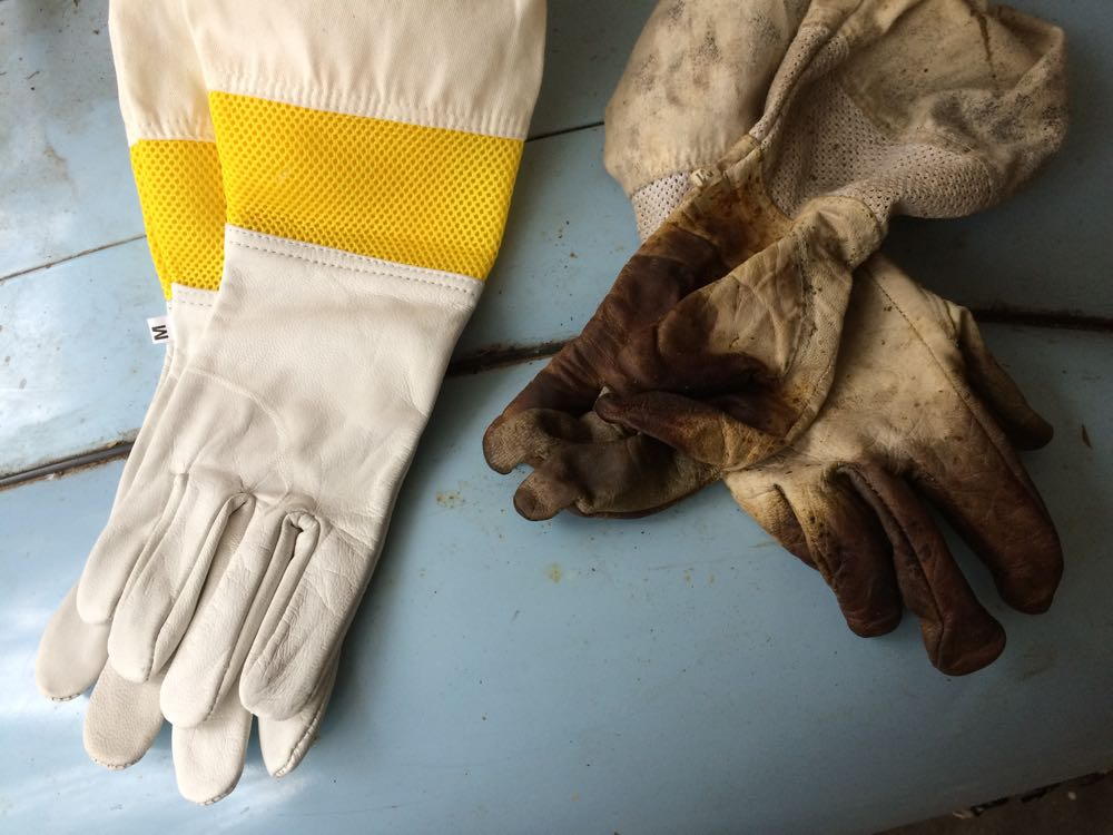 On the left, my newest addition to my beekeeping gear, on the right, my current gloves.