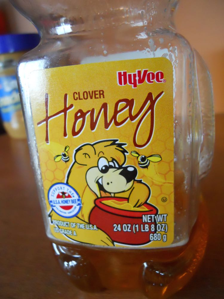 Hyvee packages honey in bear-shaped jars with a label that helps explain the jar shape.