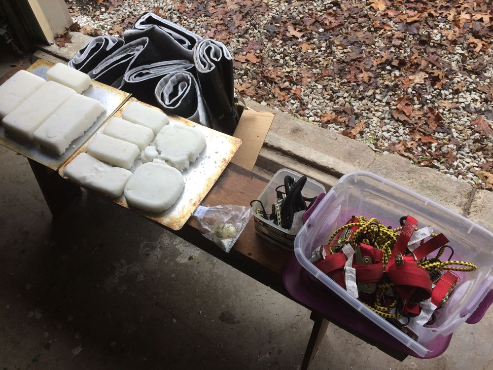 Some of my equipment and supplies to get my honeybee hives ready for winter this year.
