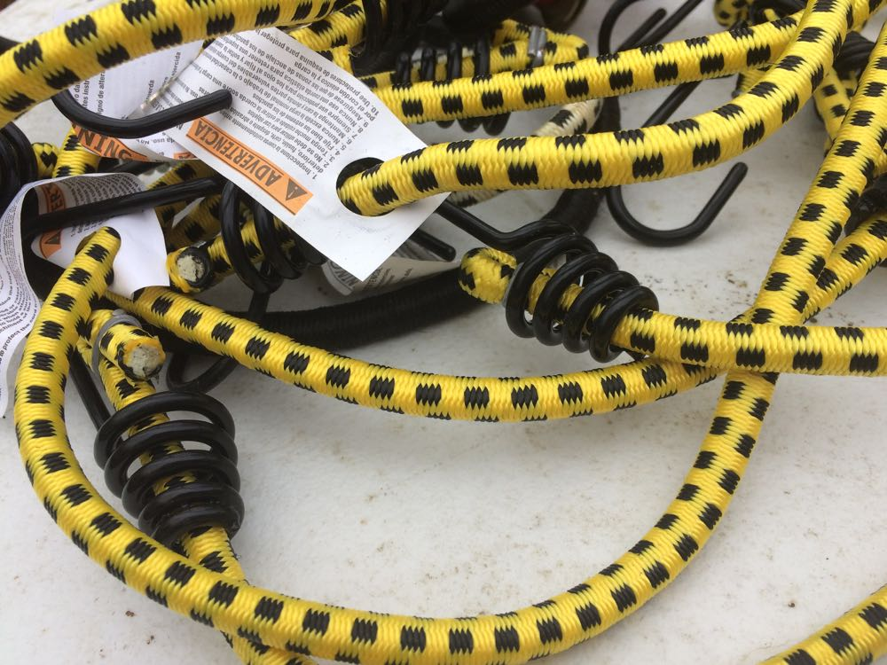 I bought these bungee cords because of their colors, very bee-inspired.