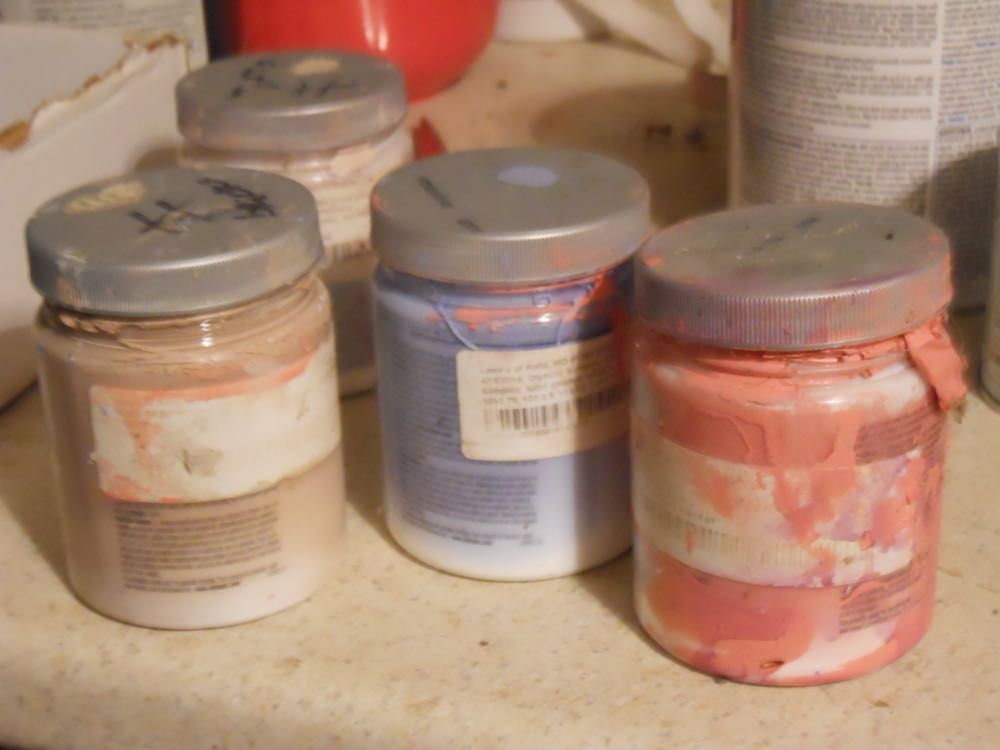 These are some of the paint samples I borrowed from David. Yes, they get a little messy.