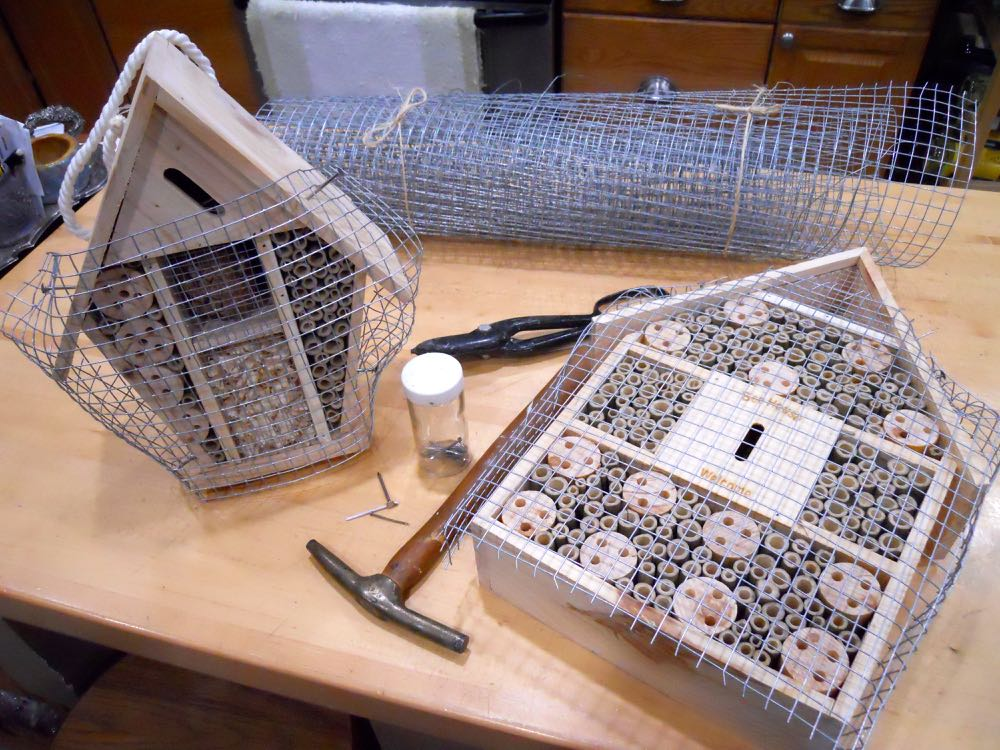 Two more native bee houses ready to go outside. (Photo by Charlotte Ekker Wiggins)
