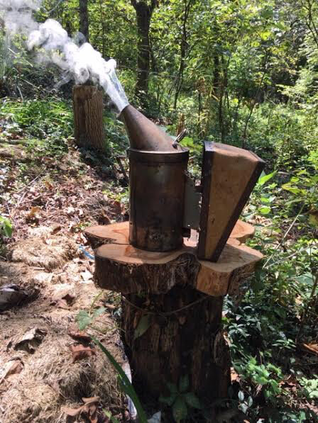 My smoker stand in use and the smoker not rolling down the hill. (Photo by Charlotte Ekker Wiggins)