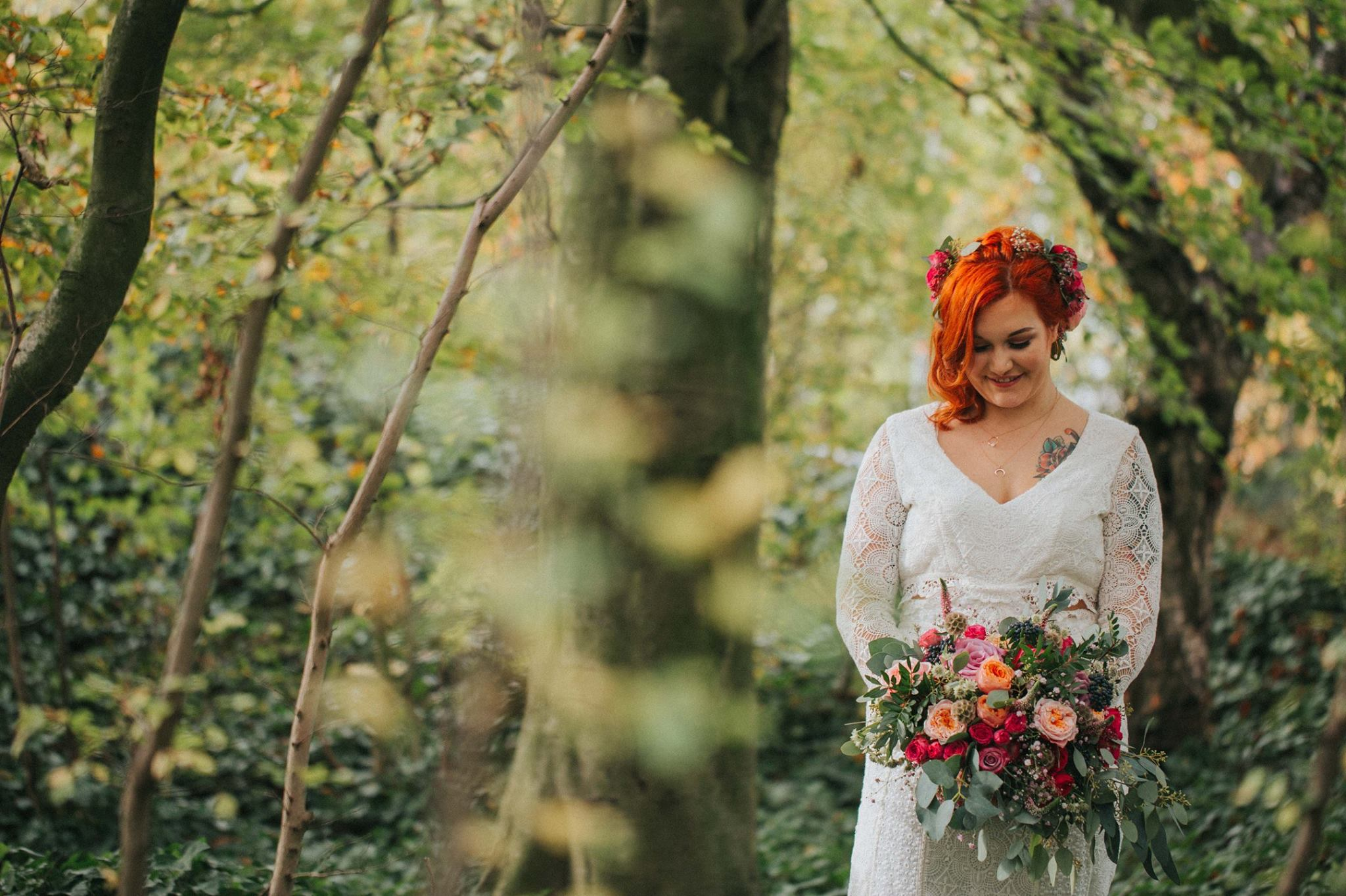 woodland wedding outdoor boho bride colourful photography