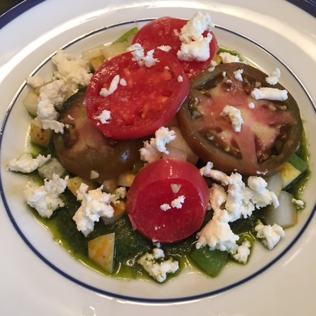 Cucumber tomato goat cheese salad.JPG