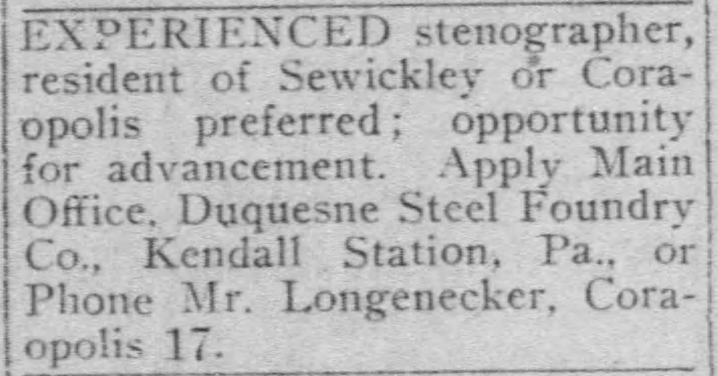 Pittsburgh Post Gazette, March 22, 1919