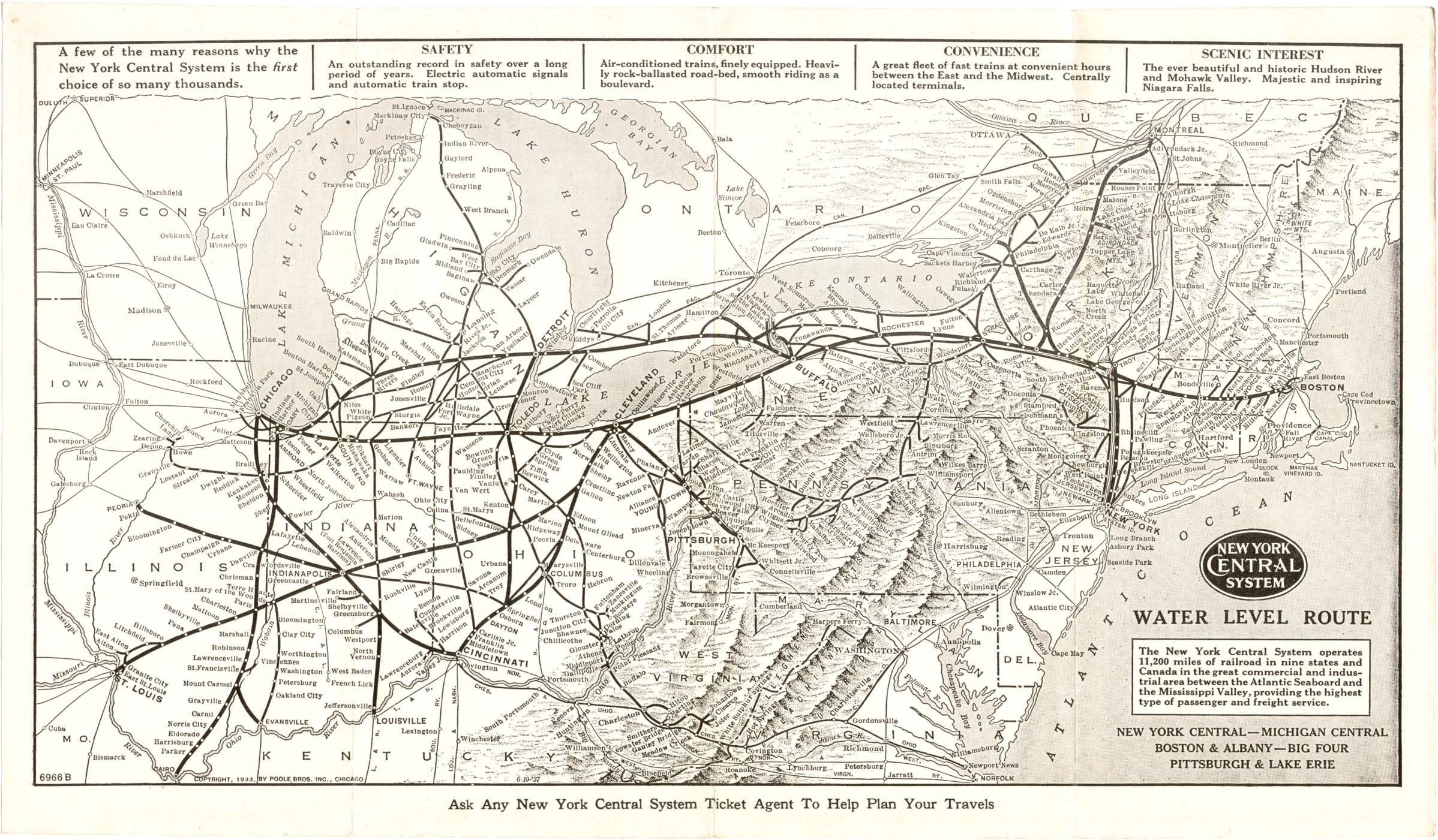 P&LE New York Central System Map, 1942 (1933 Poole Brothers)