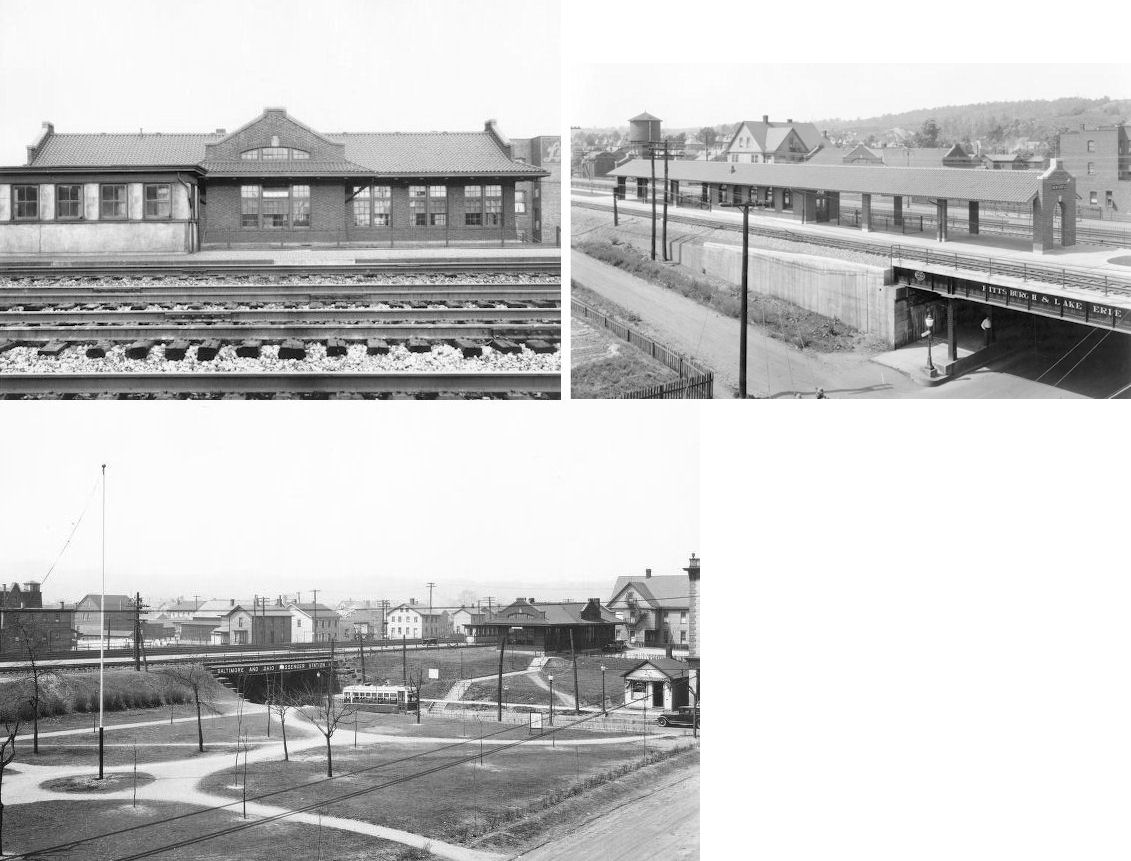 Mahoningtown P&LE Passenger Station & Platform - Located at NW side of Liberty Street on the NE side of the tracks. Problems: this was opened in the 1900s. (The newspapers indicate June 1, 1917, but Pitt has a photo of this station dated 1904.) Regardless, this is in the wrong location, and, while it does have a few architectural features, taken together this does not share very much in common with our stations. Also, this is a much larger brick structure and would have clearly exceeded the price of either Coraopolis or Glassport.