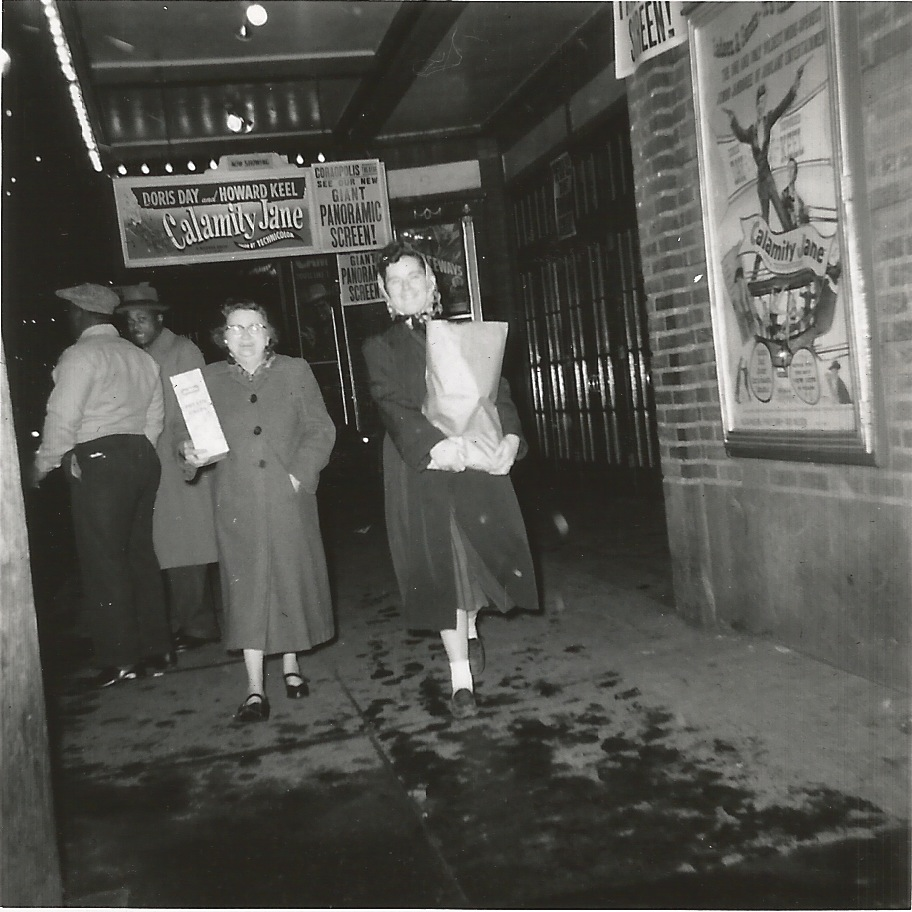 Belle Bates and Lois Bates in front of the Coraopolis Theater, abt 1953 (image donated by Carol Johnson)