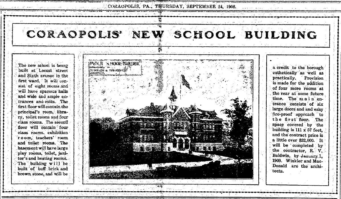 1908-09-24 The Coraopolis Record - New School Bldg