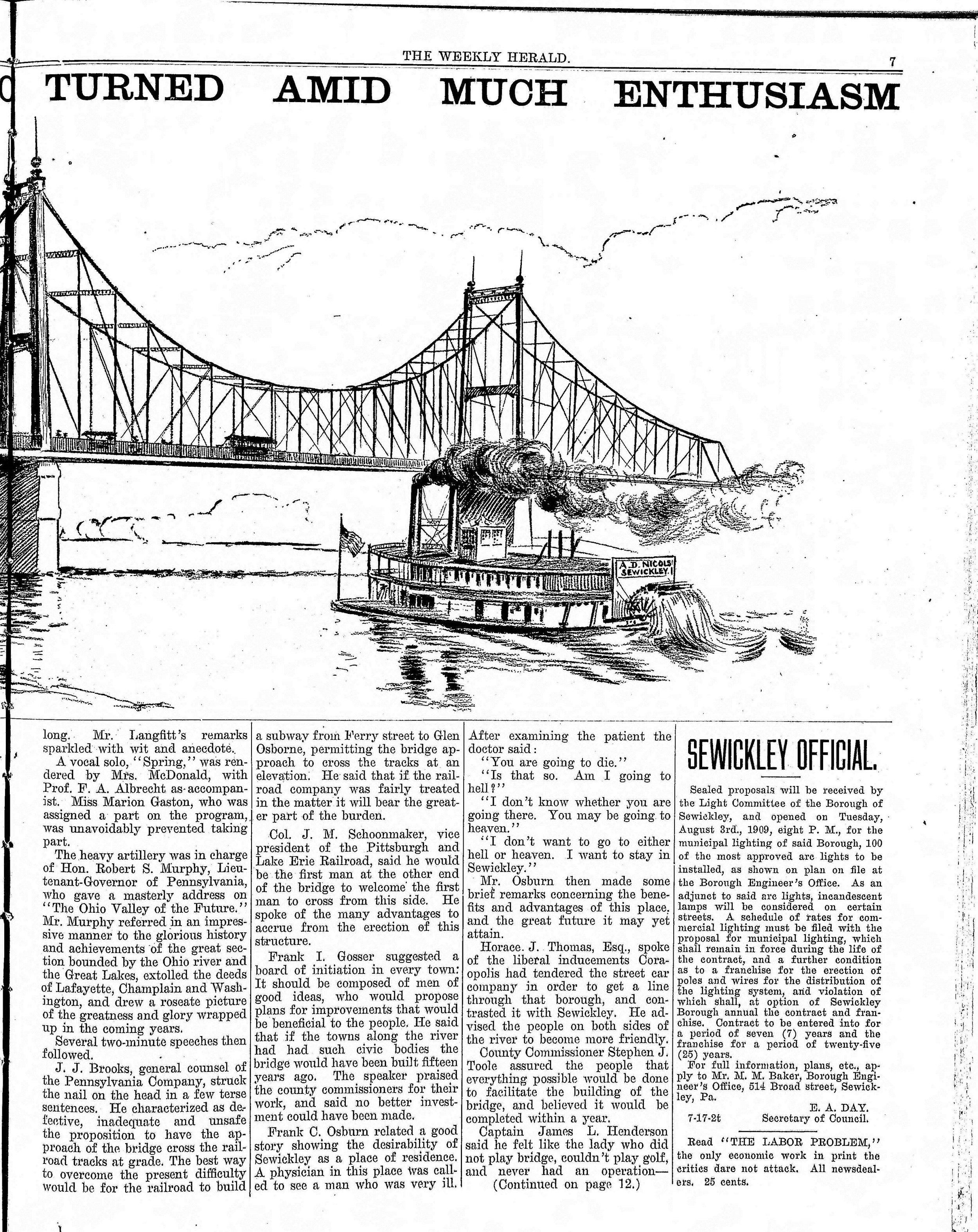 1909-07-24 The Weekly Herald (Sewickley Herald) - Bridge Celebration (pg7).jpg