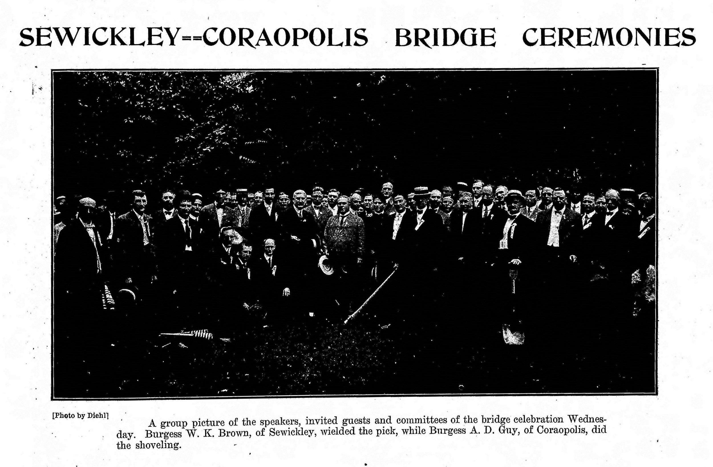 1909-07-24 The Weekly Herald (Sewickley Herald) - Bridge Celebration (pg1)Cropped.jpg