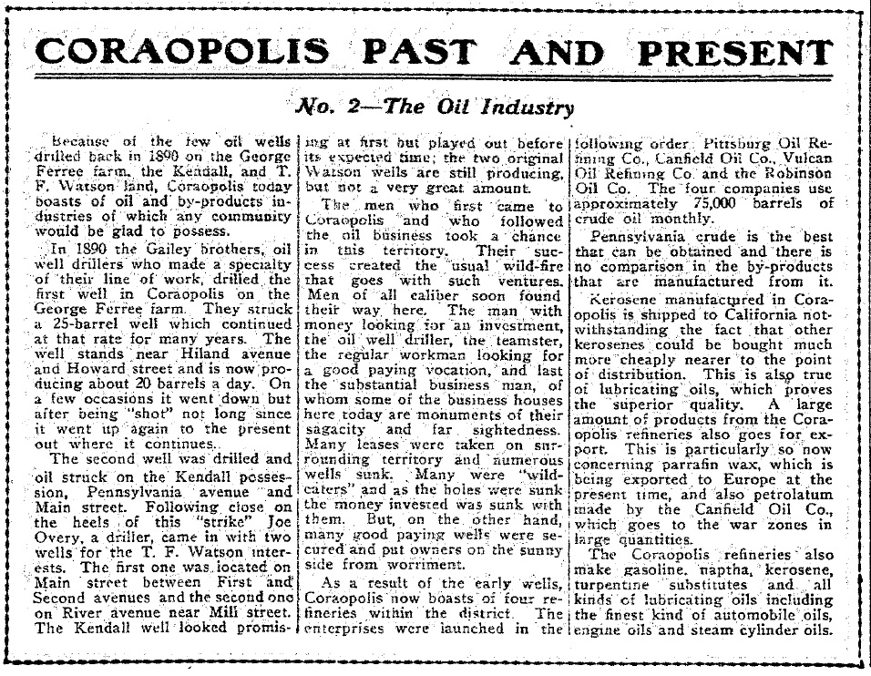 1917-04-06 The Coraopolis Record - (2) The Oil Industry