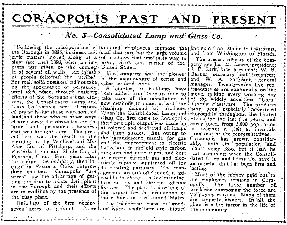 1917-04-13 The Coraopolis Record - (3) Consolidated Lamp & Glass Co