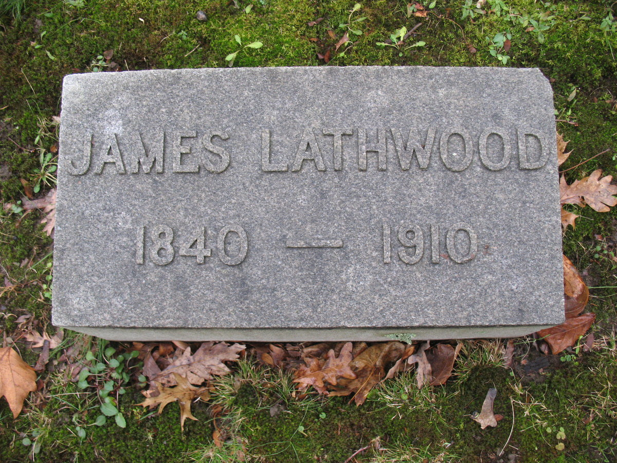 James Lathwood was laid to rest in Homewood Cemetery, Section 16, Lot 62, Grave 1