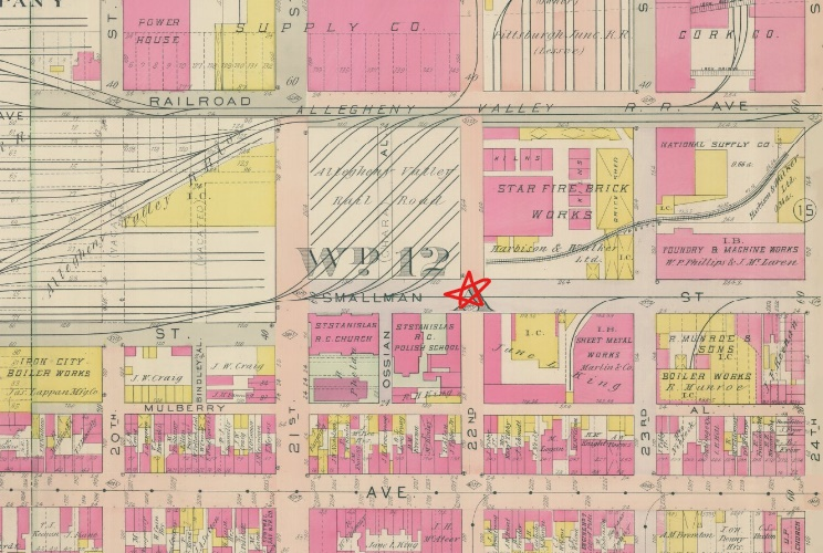 1906 G.M. Hopkins Company Maps, Strip District, Plate 14. Lathwood Foundry was located at Smallman and 22nd (intersection marked with a star).