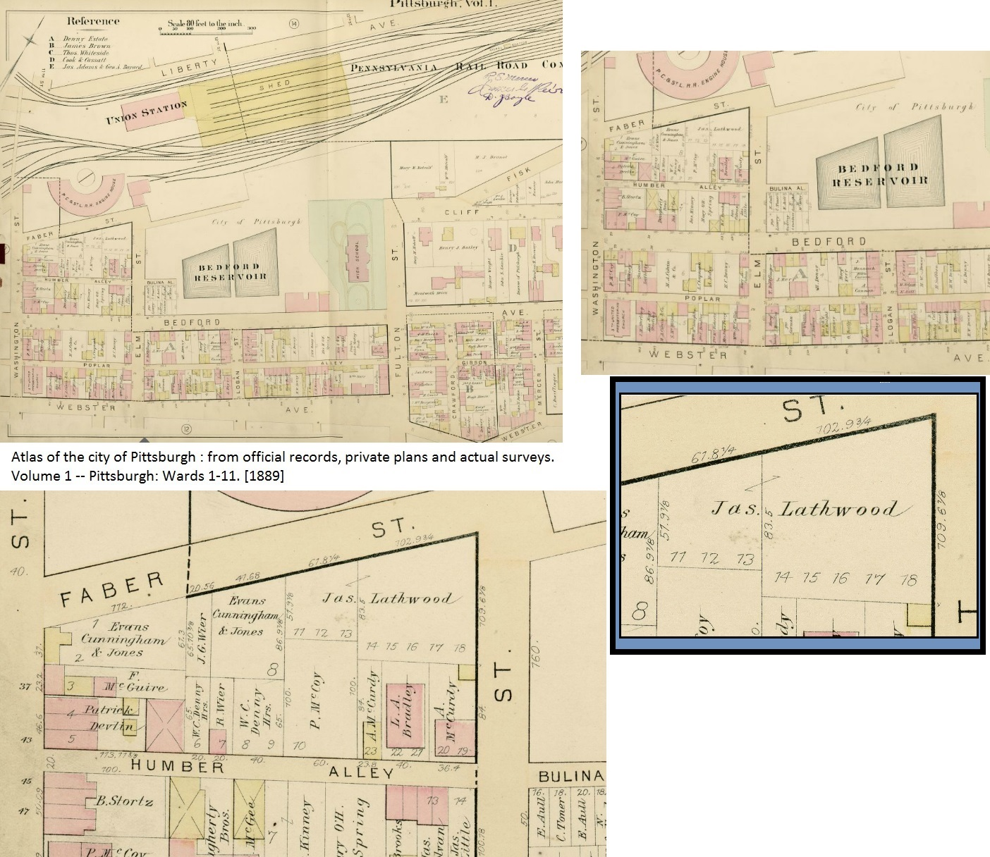 1889 Map showing original location of Lathwood Foundry, prior to relocating to the Strip District.