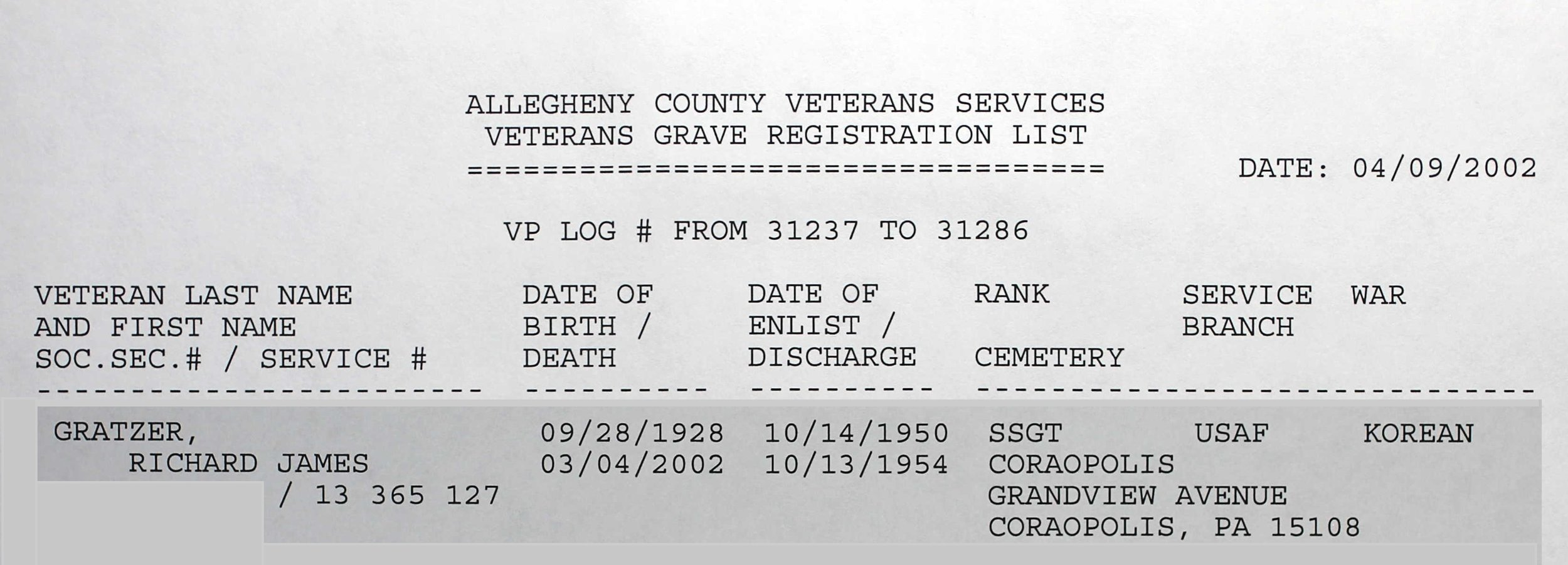 Pennsylvania Veterans Burial Cards, 1777–2012, Digital Images 3–5. PA Historical and Museum Commission, Bureau of Archives and History, Harrisburg PA
