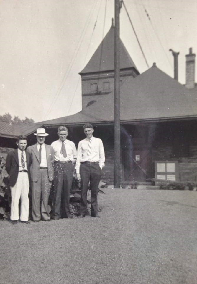 Prince Ward, Harry Taylor, Clifford Combs, and William Combs in front of Coraopolis Train Station.