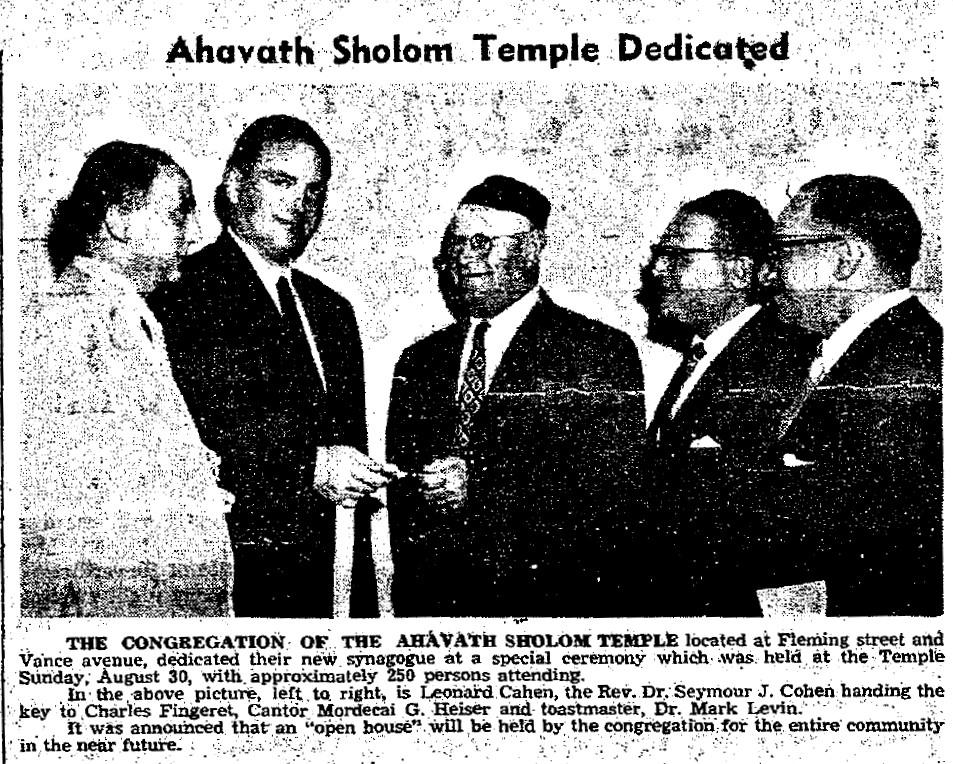 1953-09-10 Ahavath Sholom Temple Dedicated - The Coraopolis Record (v48, n29, p2)