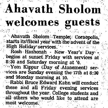 1972-09-06 Ahavath Sholom Welcomes Guests - The Coraopolis Record (v68, n31, p3)