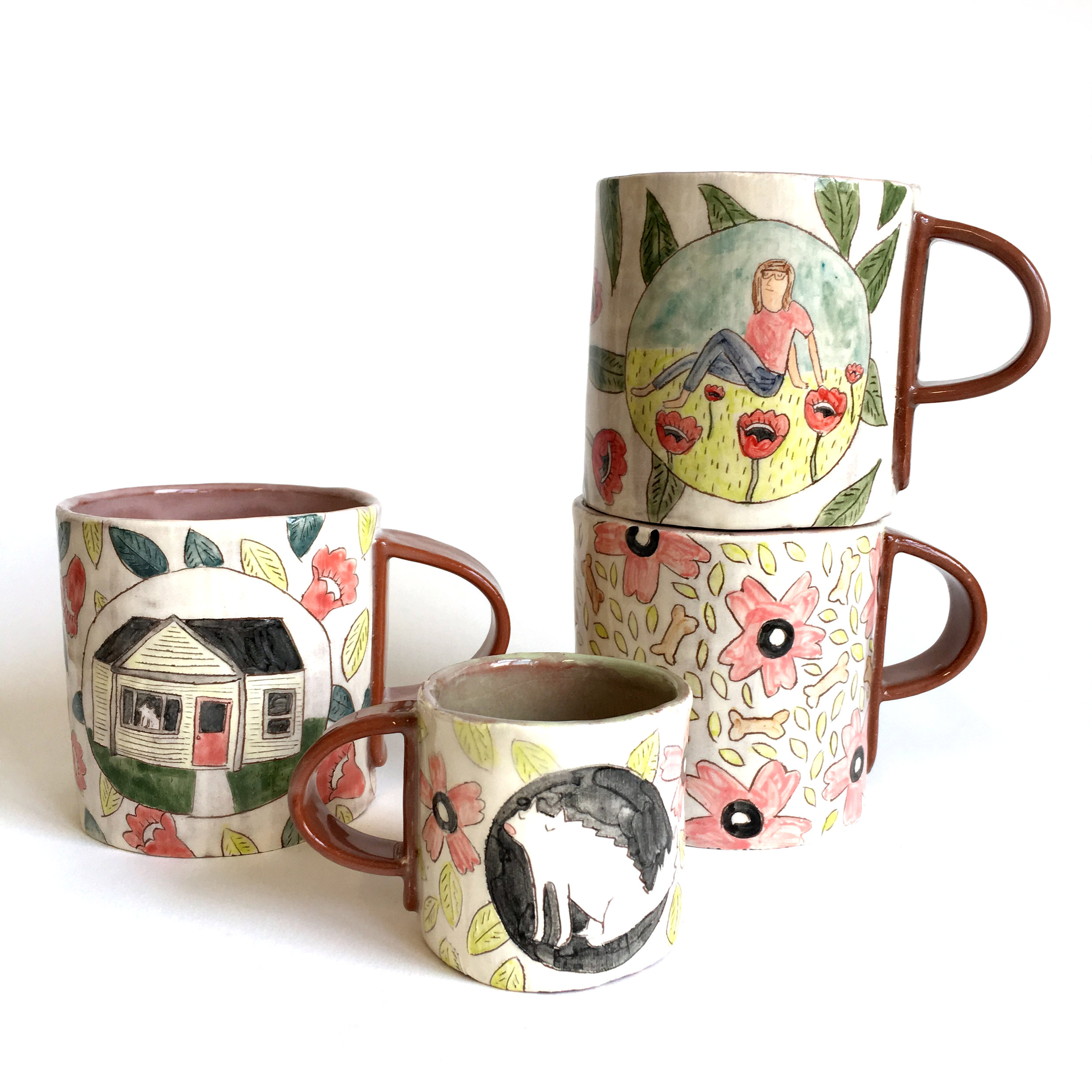 - I worked with a client to create this special mug set with his girlfriend, her dog, and her home with a red door.